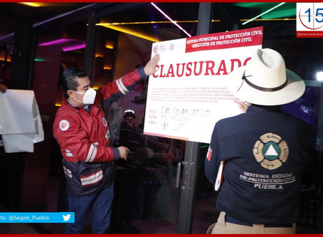 Clausura Segob tres establecimientos en Puebla y San Andrés Cholula