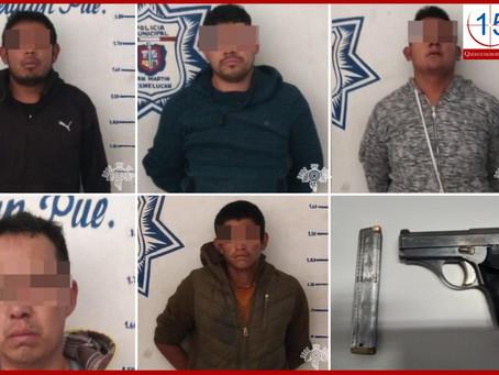 SSP y policías de Texmelucan aseguran banda presuntamente dedicada al robo de transporte de carga