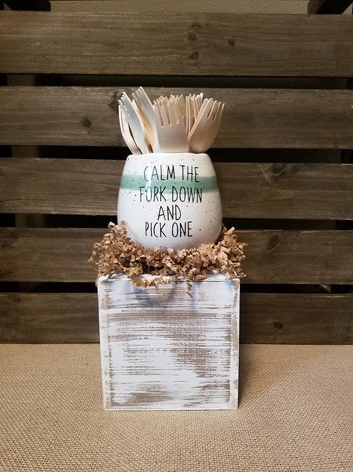 Sage Green  Fork Jar