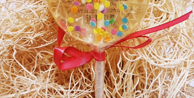Handmade Sweet Caroline Hard Candy Lollipop- Confetti