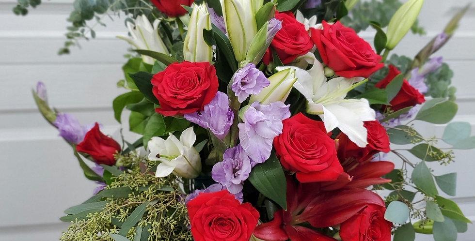 Large Red Rose Easel Arrangement