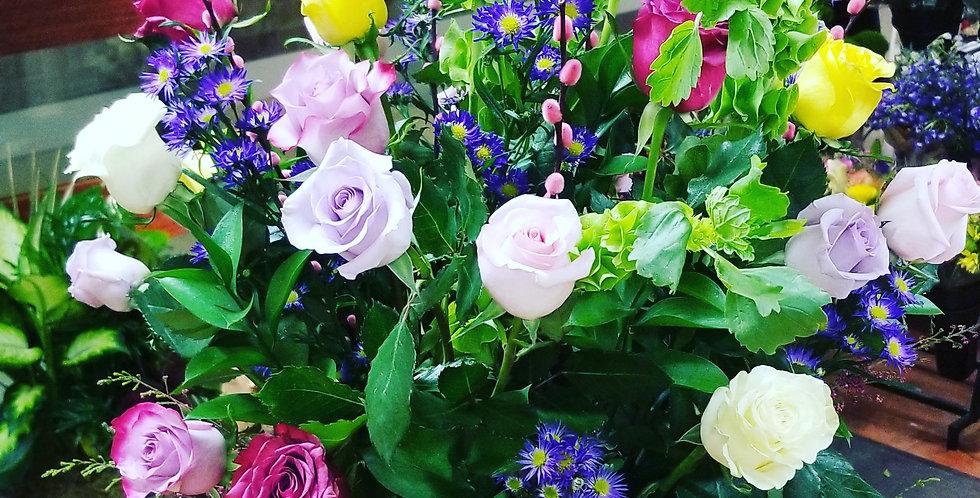 Colorful 2 dozen rose arrangement