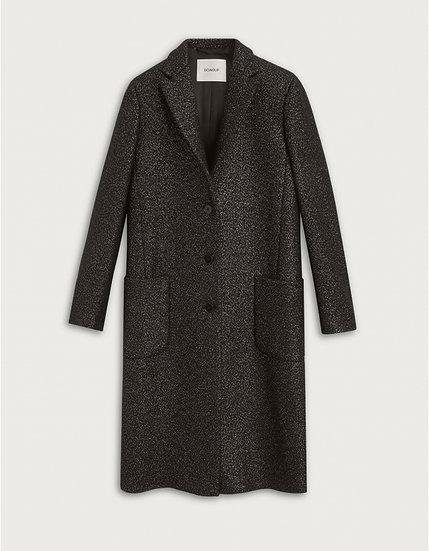 Einreihiger Mantel aus Lurex-Wollstoff