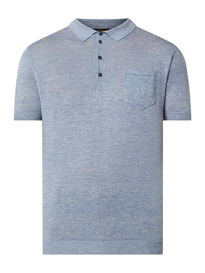 Windsor Poloshirt aus Leinen Modell 'Loan' - Hellblau