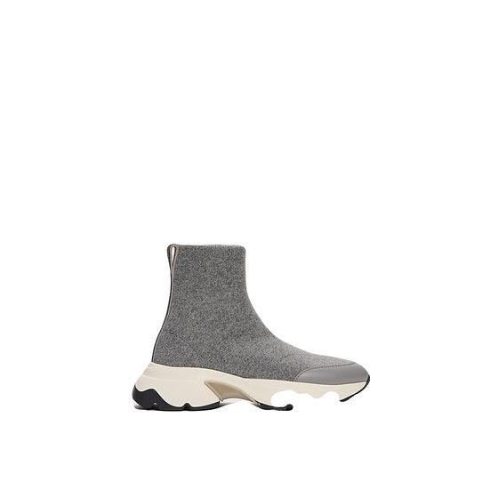 High-Sneaker aus gestrickter Wolle, Stein