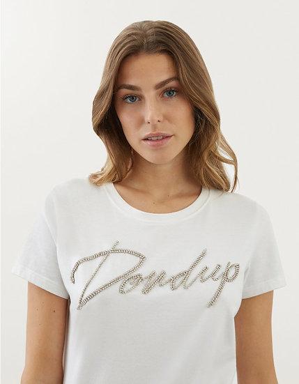 T-Shirt aus Jerseystretch mit Strass-Logo