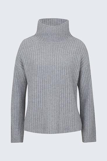 Cashmere-Pullover mit Turtleneck in Pastellgrau