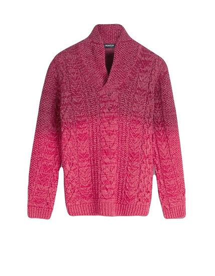 Wollpullover mit Schalkragen und Farbverlauf