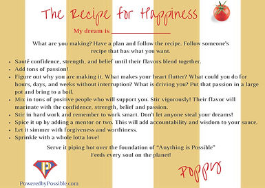 Diane Popowich's Recipe for Happiness, daily inspiration, dreams, goals
