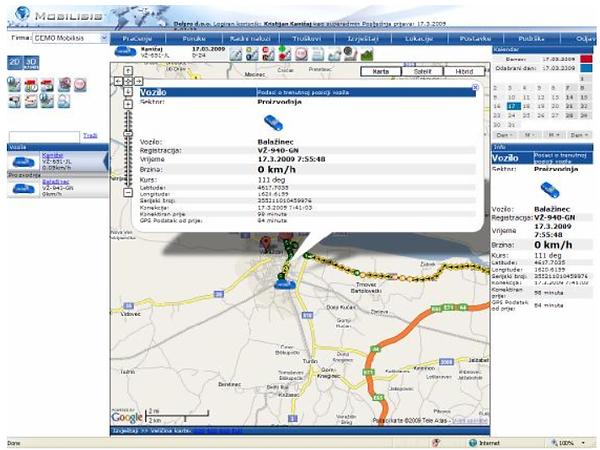 Slika 1. Mobilisis aplikacija glavni pogled 2009. godine