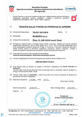 TEHNIČKI NALAZ TN-PO 16/11/815
