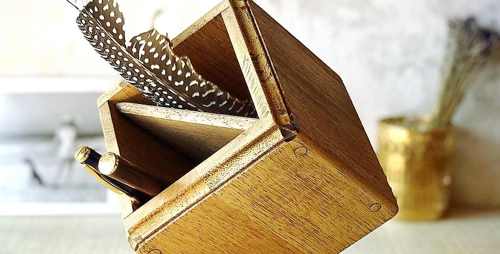 オリジナル天然木ペンスタンド・ダイヤ型【アンティークブラウン】
