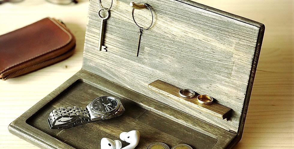 【SOLDOUTご注文頂けます】天然木玄関トレー 鍵置き 横型 ダークブラウン
