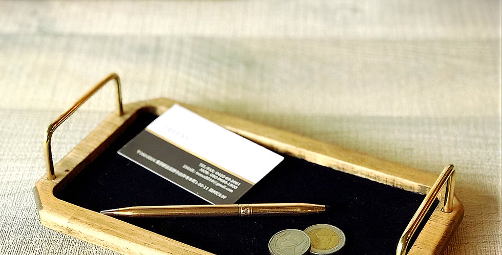 天然木の小物トレー トレイ 真鍮ハンドル
