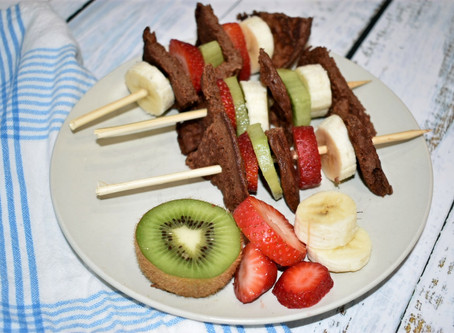 Chocolate Banana Pancake Skewers  (Gluten-Free & Sugar-Free)