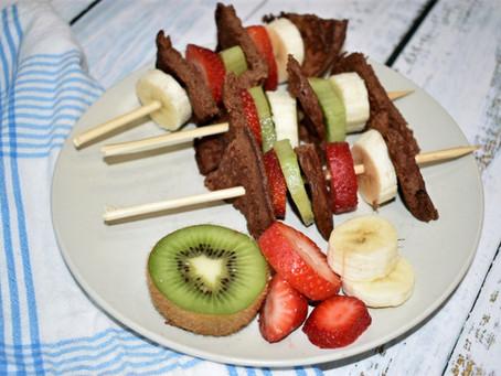 Chocolate Banana Pancake Skewers  (Gluten-Free & Sugar-Free)