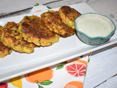 Grain-Free Zucchini Fritters With A Tomatillo Ranch Dipping Sauce