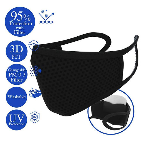 Bye! Bye! Germs OMG! Changeable Filter Mask - Black 3pcs