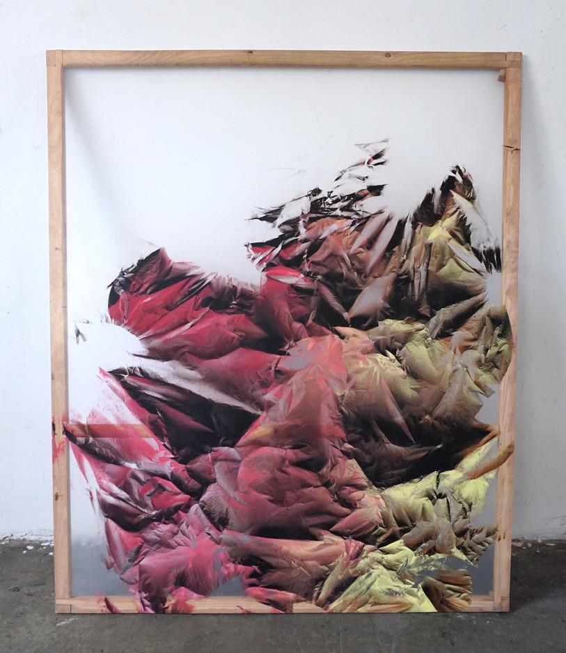 Relieves efimeros 3 Spray sobre polietileno y vinilo transparente 160 cm x 130 cm