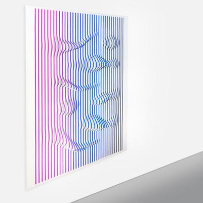 Curves 3 Acrilico y papel sobre tablero 138 x 125 cm