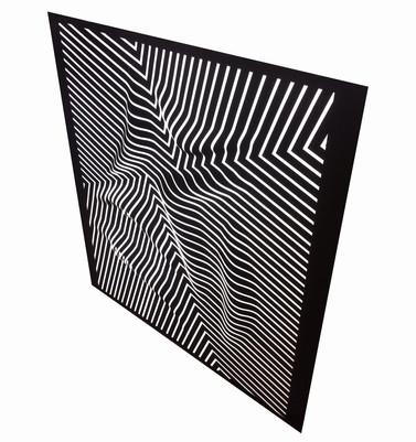 Curves 7 (side) Acrilico y papel sobre tablero 138 x 125 cm