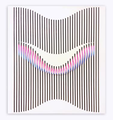 Curves 4 Acrilico y papel sobre tablero 138 x 125 cm