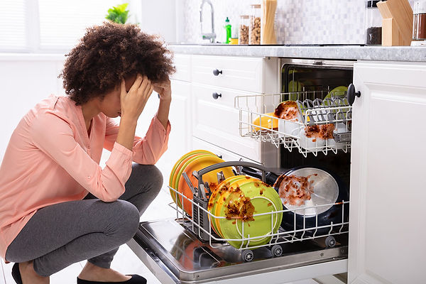 Clogged Dishwasher Dirty Dishes Frustrated