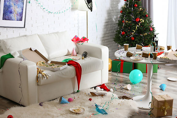 christmas party mess, avoid holiday plumbing problems, holiday plumbing tips, drain clog during holidays, plumbing problems during holidays