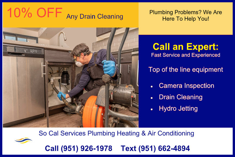 drain cleaning coupon showing 10% off an drain cleaning service