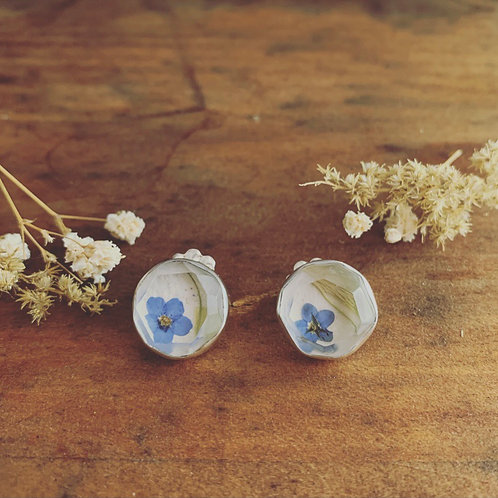 Lucite Studs (Forget me Not and Apple Moss)