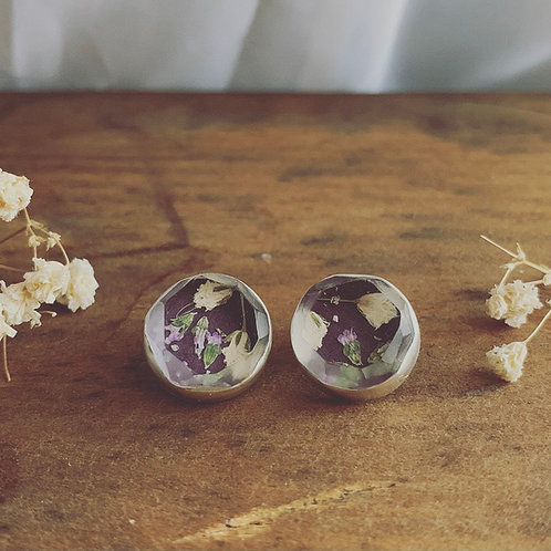 Lucite Studs (Rose Meadow and Baby Breath)