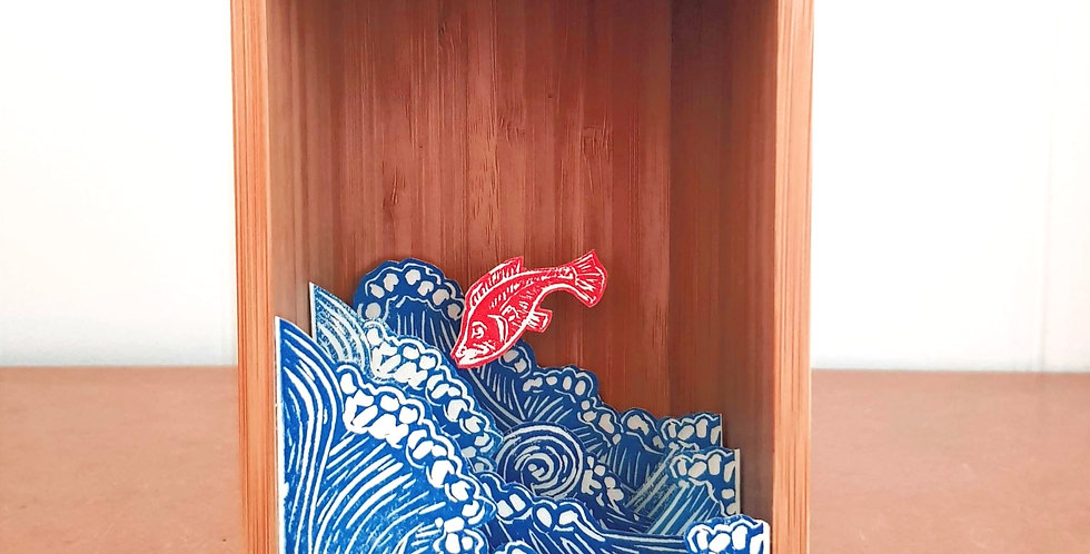 Red Fish in Waves