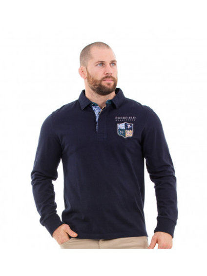 Polo manches longues bleu - Ruckfield
