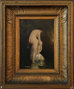 Dipinto olio su tavola  raffigurante venere al bagno. Epoca XIX secolo. Francia Misure: 20x27 cm