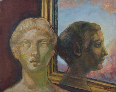Olio su tela raffigurante figura allo specchio. Firmato Mayo. Seconda metà del XX Secolo.