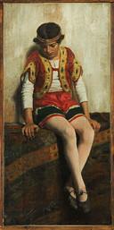 Dipinto olio su tela raffigurante una circense. Epoca seconda metà del XIX secolo. Italia Misure: 47x23 cm