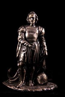 Scultura in argento raffigurante Cristoforo Colombo. Genova primo quarto del XIX secolo.