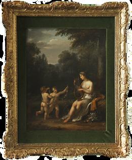 Dipinto olio su tela raffigurante venere con amorini danzanti. Epoca primo quarto del XIX secolo. Francia Misure: 25x 35 cm