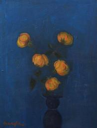 Dipinto olio su tela raffigurante cinque roselline su fondo blu. Firmato Mario Mafai. Misure: 30,5x39,5 cm