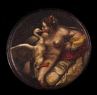 Tabacchiera in lacca raffigurante Leda e il cigno.