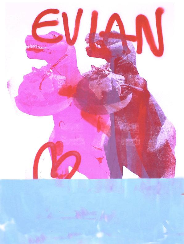 Evian, screenprint, artist silkscreen graphic artist, t rex, Harrison Mills Brown