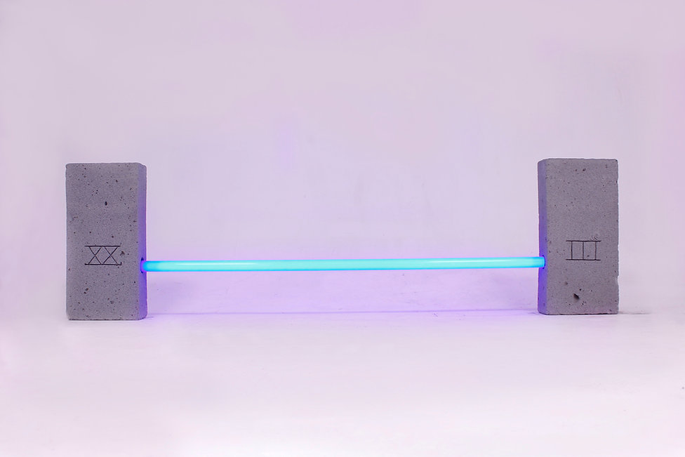Neon tube, installation, concrete, contemporary art, artist, london, UK, Lighting