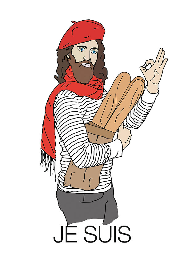 Jesus as a french man. Graphics Harrison Mills Brown. Original artwork
