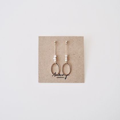 VOLUTE Les Inédits - Boucles d'oreilles - Courbe S et trois perles S