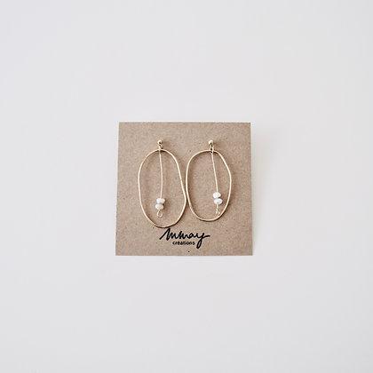 VOLUTE Les Inédits - Boucles d'oreilles - Courbe L et deux perles S