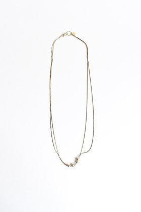 Circus - Collier - Double chaine et quatre perles de métal