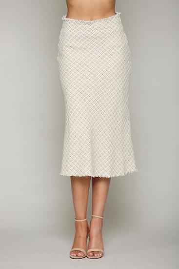 Sophisticated Raw Hem Tweed Pencil Skirt
