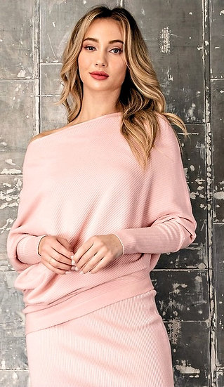 Pretty in Pink Off the Shoulder Sweater