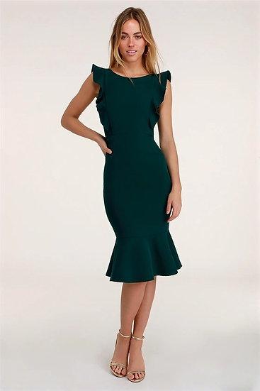 Emerald Green Ruffle Bodycon Midi Dress