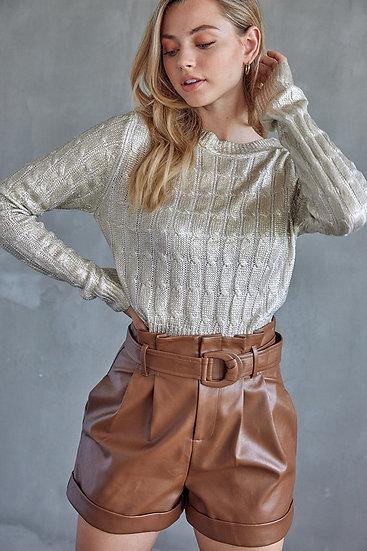 Metallic Crop Sweater